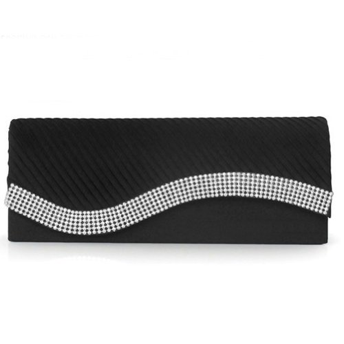 Damara Womens Pleated Satin Flap Crystal Clutch