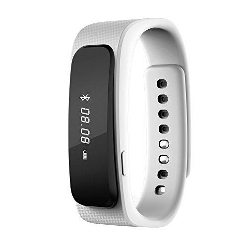 2016 neue Entwurfs-Universal-Bluetooth-Headset mit 0,91-Zoll-OLED-Multifunktions -Smart Watch abnehmbares Armband Fitness Tracker Funkkopfhörer für Apple iPhone 6/5S/5C/5, iPhone 4S/4, Samsung Galaxy S5/S4/S3, LG, PC Laptop, und anderen Bluetooth-Gerät (weiß)