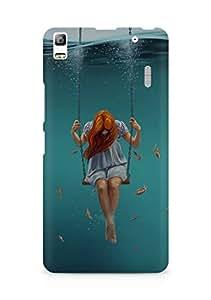 Amez designer printed 3d premium high quality back case cover for Lenovo A7000 (Swing Art Painting Girl Dark)