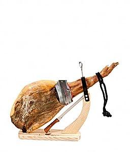 Gourmondo Serrano Schinken (Schinkenbein 7 Kg) Grand Reserva 18 Monate mit Schinkenbock und Messer gratis