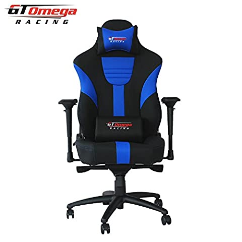 GT Omega MASTER XL Racing Office Chair Black and Blue Leather Esport Gaming Seat