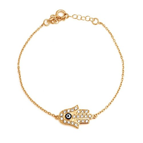 Bling Jewelry Gold Vermeil CZ Hamsa Hand Evil Eye Bracelet 925 Sterling Silver 7.5in