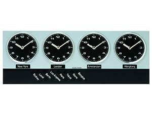 Karlsson Wall Clock Timezone Magnet Aluminum, Black