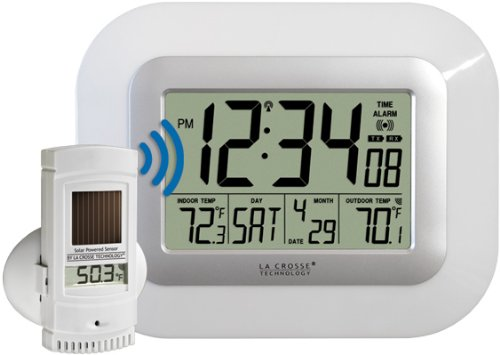 La Crosse Technology WS-811561-W atomic digital wall clock with solar-powered sensor