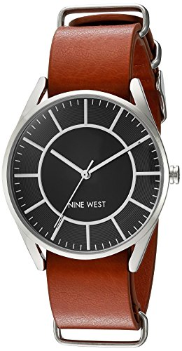 nine-west-womens-quartz-metal-and-polyurethane-dress-watch-colorbrown-model-nw-1943bkhy
