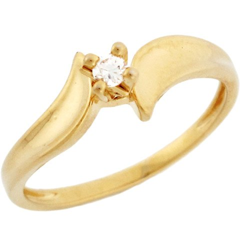 10k Solid Yellow Gold Diamond Solitaire Promise Ring