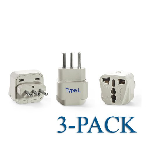 Ceptics Grounded Universal Plug Adapter For Italy (Type L) - 3 Pack
