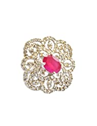 Orne Jewels Ruby Diamond Cocktail Ring For Women - B00IO9E4LA