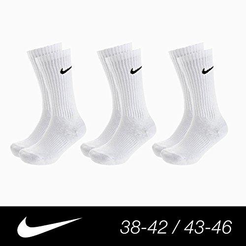 Calze NIKE bianche 3 Paia uomo donna unisex sport cotone tennis calzino x scarpe Bianco 42-46