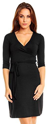 Zeta Ville Women'S Zeta Ville Pregnancy Maternity Stretch Dress 3/4 Sleeves Tied Belt 101 (Uk 10/12, Black)