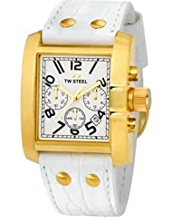 TW Steel Goliath White Dial Chronograph White Leather Ladies Watch TW107