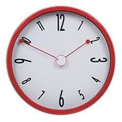 JustNile Modern Creative Round 12-inch Non Ticking Wall Clock - Red Antenna