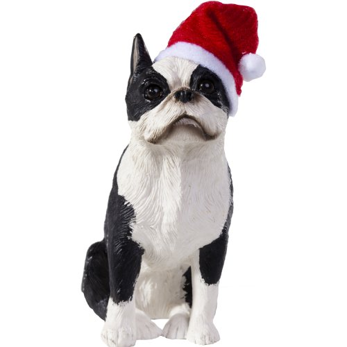 sandicast boston terrier with santa hat christmas ornament