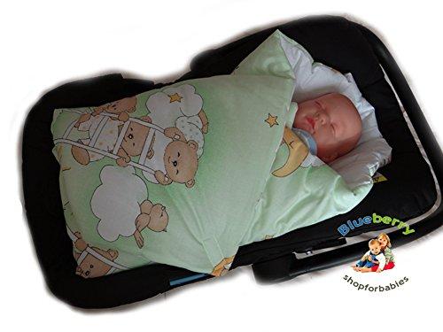 Blueberry Shop Newborn Swaddle Wrap Blanket For Car Seat Duvet Sleeping Bag Birthday Gift Green Bear - 1