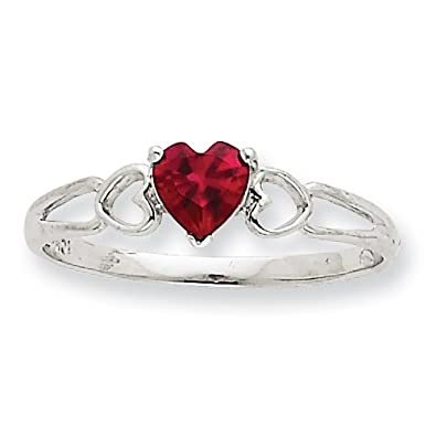 10k White Gold Genuine Ruby Birthstone Ring - Size L 1/2 - Higher Gold Grade Than 9ct Gold