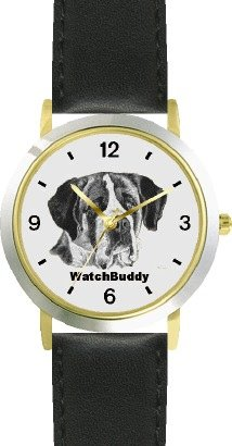 St. Bernard (Sc) Dog - Watchbuddy® Designer Deluxe Two-Tone Theme Watch - Arabic Numbers-Evening Twilight Style - Gray Dial With Black Leather Strap-Women'S Size-Small