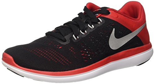 Nike - Flex 2016 Rn, Scarpe da corsa Uomo, Nero (Black/Metallic Silver University Red White), 42 EU