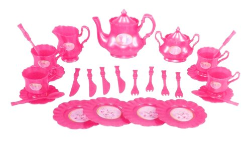 Princess Tea Party Set With Pink Tea Pots And Kitchen Utensils (29 Pcs)
