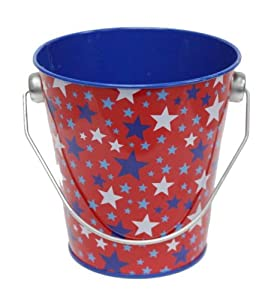 4th of July Patriotic Tin Bucket Pail - RWB Stars