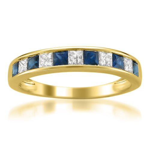 Sale 14k Yellow Gold Princess-cut Diamond and Blue Sapphire Wedding Band Ring (1 cttw, H-I, I1-I2)