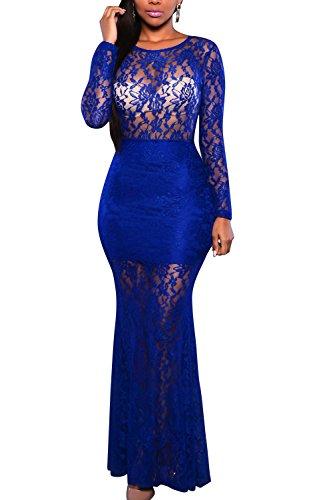 Pretid Women's Lace Backless Vintage See-through Elegant Long Maxi Dress