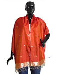 Saffron Pure Silk Stole with All over Boota, Zari Border - Silk