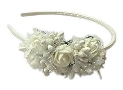 Loops n knots White Hairband/Tiara/Floral Crown For Girls & Women-Hair Accessories