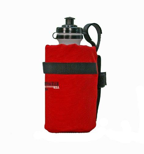 Bushwhacker Shasta Red - Insulated Bike Water Bottle Holder w/ 22 oz. Bottle - Two Point Bike Frame & Handlebar Attachment w/ Belt Loop