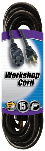 Images for Coleman Cable 02306 15-Feet 16/3-Wire Gauge Vinyl Outdoor Extension Cord, Black