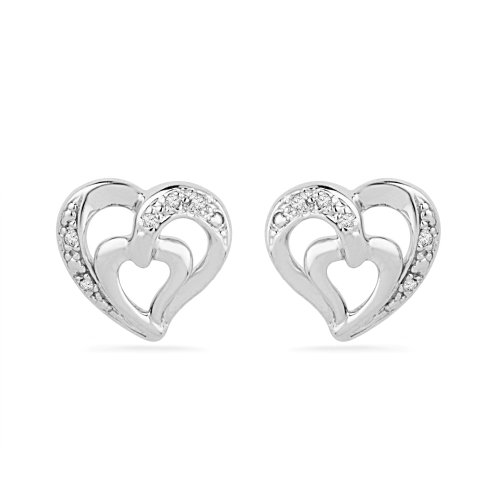 Platinum Plated Sterling Silver Round Diamond Fashion Earrings (0.03 Cttw)