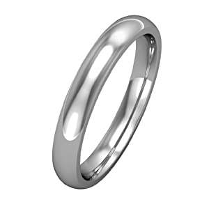White Gold 3mm Court-Shaped Wedding Band Ring in 9ct White Gold