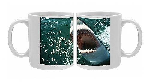 Photo Mug Of Great White / White / White Pointer Shark - Mouth Open From Ardea Wildlife Pets