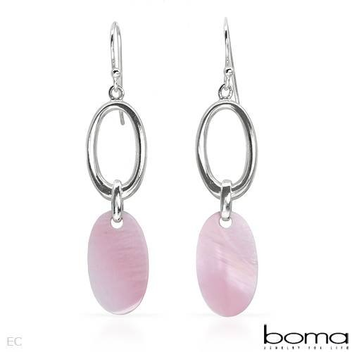 BOMA Wonderful Earrings With Genuine Shells Beautifully Designed in 925 Sterling silver Length 46mm