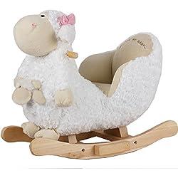 Baby Schaukeltier Schaf in Weiss mit Baby, großzügige Polsterung, Kuschelfell: Baby Schaukel Schaukelpferd Schaukeltier Holz Babyschaukel Schaukel-Wippe