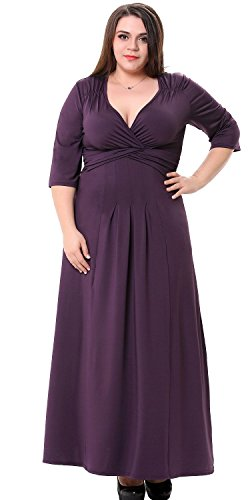 Sapphyra® Women's Purple Pleated Waist Loose Fit Casual Formal Ankle Length Dress