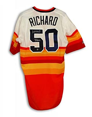 Autographed J.R. Richard Houston Astros Rainbow Majestic Jersey Inscribed 80 All Star - 100% Authentic Autograph - Genuine MLB Signature - Perfect Sports Gift