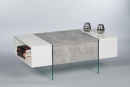 Couchtisch 16719 Wohnzimmertisch Tisch Beton / Weiß Hochglanz