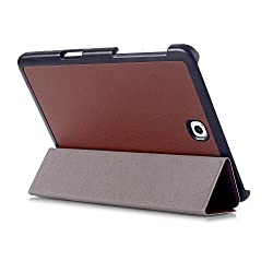 SPL Premium PU Leather Book Stand Cover for Samsung Galaxy Tab A SM-T355 Tablet 8 inch -Brown