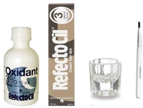 REFECTOCIL COLOR KIT - Natural Brown Cream Hair Dye + Liquid Oxidant 3% 3.38 oz + Mixing Brush + Mix..