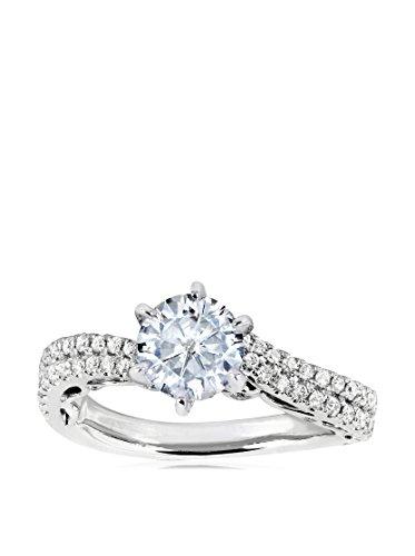 Kobelli 14K White Gold Round Moissanite & 7/8-Cttw. Diamond Ring