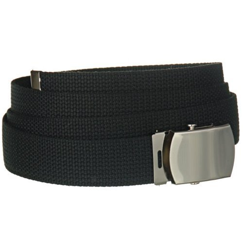 "56"" Black One Size Canvas Military Web Belt With Silver Slider Buckle"
