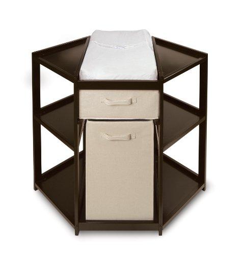 Badger Basket Baby Changing Table With Hamper And Basket, Espresso front-544578