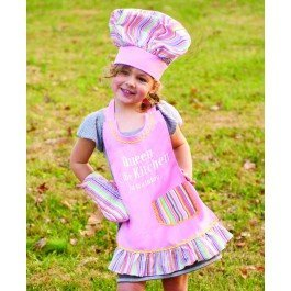 Manual Woodworkers Izzy Collection Queen of The Kitchen Kids 3-Piece Apron Set by Manual Woodworkers (English Manual)