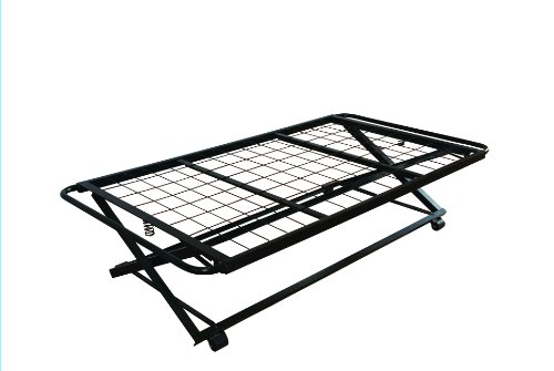 39 twin size steel hirise bed frame pop up trundle for Cheap twin size bed frames