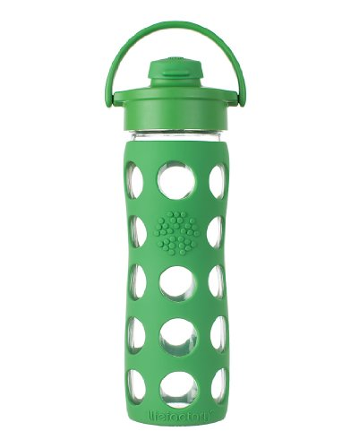 Lifefactory 16-Ounce Glass Beverage Bottle with Flip Top Cap, Grass Green