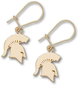 Michigan State Spartans 1 2 Solid Spartan Dangle Earrings - 14KT Gold Jewelry by Logo Art