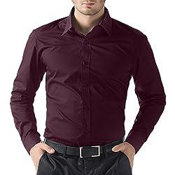 You Forever Men's Casual Purple Cotton Shirt