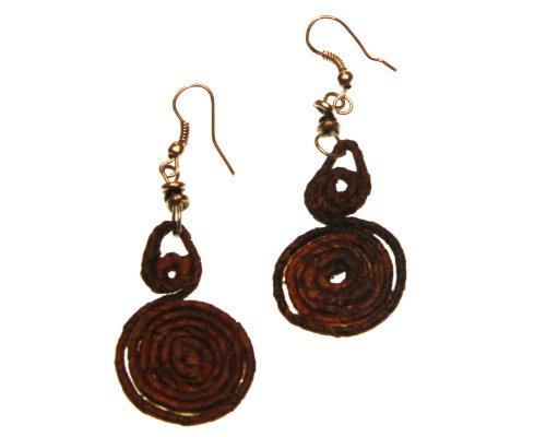 Fair Trade Banana Fiber Music Note Earrings, Kenya, Africa, Sustainable, Eco-friendly