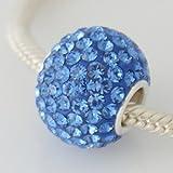 Dark Blue Crystal - Huge Discoball Swarovski & Sterling Silver Charm Bead - fits Pandora, Chamilia etc style Bracelets - SpangleBead