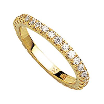 18K Gold Plated Clear Cubic Zirconia Eternity Wedding Band Ring - Size 5